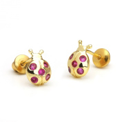 14k Gold Plated Baby Ruby Lady Bug Children Screwback Earrings With 925 Silver Post Baby, Toddler, Kids & Children