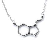 Sterling Silver Serotonin Molecule Cast Necklace