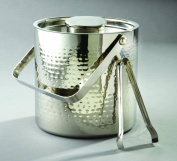 Large Hammered Ice Bucket With Lid And Ice Tong, 2.8ls