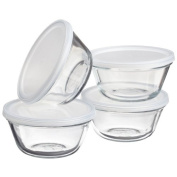 Anchor Hocking Glass Custard Cups with Plastic Lids, Set of 4