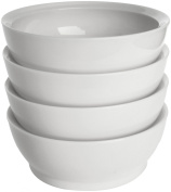 CaliBowl Non-Spill 830ml Low Profile Bowl with Non-Slip Base, Set of 4, White
