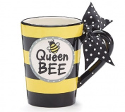 Whimsical Queen Bee 380ml Coffee Mug with Polka Dot Bow on Handle Gift Boxed