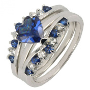 2.6CT Sterling Silver 925 Sapphire & Heart CZ Engagement Wedding 3pcs Ring Set Size 5 to 10