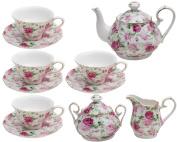 Gracie China by Coastline Imports Pink Summer Rose Chintz 11-Piece Tea Set