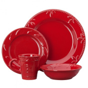 Signature Housewares Sorrento Collection Stoneware 4-Piece Dinnerware Set, Ruby Antiqued Finish