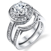 1.5 Carat Round CZ Sterling Silver Wedding Engagement Ring Bridal set with Cubic Zirconia Sizes 5 to 9