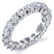3.50MM Sterling Silver 925 Eternity Ring Engagement Wedding Band Ring with Cubic Zirconia CZ Sizes 4 to 10