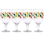 Fiesta Multi-Colour Dot All Purpose Goblet, 470ml, Set of 4