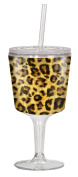 Spoontiques Leopard Print Goblet, Yellow