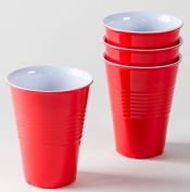 """""""What Is It."""" LARGER SIZE 530ml, Reusable Red Melamine Cups / Glasses, Set of 4"""