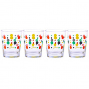 Fiesta Multi-Colour Dot Tapered Double Old Fashion Glass, 440ml, Set of 4