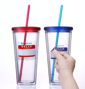 Cupture® Classic Insulated Double Wall Tumbler Cup with Lid, Reusable Straw & Hello Name Tags - 710ml, 2 Pack
