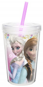 Zak! Designs Insulated Tumbler with Screw-on Lid and Straw featuring Elsa & Anna from Frozen, Break-resistant and BPA-free Plastic, 380ml