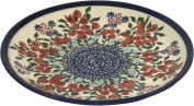 Polish Pottery Ceramika Boleslawiec 1102/282 Royal Blue Patterns Dessert Plate, 19cm , Red Berries and Daisies