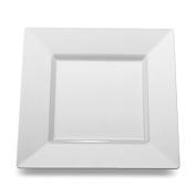 Square White Plastic Dinner Plates by Yoshi 25cm - 1.9cm 10 per Pack
