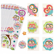 Adorable & Colourful OWL Party favours - 72 TATTOOS & 24 STICKER Sheets - SUMMER Arts & Crafts - HOOT - TEACHER - Daycare