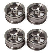 Aluminium Alloy RC 1:10 On Road Car Grey Colour Wheel Rims With 5-Spoke Pack Of 4