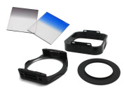 5 in 1 filter Kits Square 3 Slot Lens filter Holder Tray + 55MM Screw Lens Adapter Ring + Sky Blue / ND4 Grey Gradual Change filter - filter Kits for Sony 75-300mm f/4.5-5.6 Lens with 55MM Lens Thread
