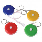 Dozen Assorted Colour Mini Tape Measure Key Chains Key Rings