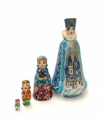 Snow Queen Russian Nesting 4 piece DOLL Set Hand Carved Hand Painted