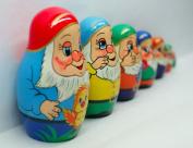 Dwarf Matryoshka Babushka Babushkas Russian Stacking Nesting Wooden Doll, 7 Pc