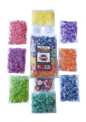 3200 Tie Dye Rainbow Loom Band Refill Kit - 8 Brilliant Tie Dye Coloured Rubber Bands Conveniently Separated - 400 of Each Mixed Colour. 100+ Clips and 50+ Charms - Refill your Rainbow Loom Bands Organiser Today!