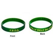 Debossed Green with Gold Ink Filled F.r.o.g. Fully Rely on God Bracelet