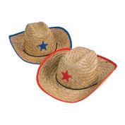 Childs Straw Cowboy Hat With Plastic Star (6 Pack) - BULK