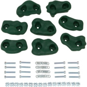 Small Textured Rock Holds Set of 8, Green with Hat SSS logo Sticker