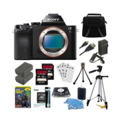 Sony Alpha a7S ILCE7S/B ILCE7S ILCE7SB Compact Interchangeable Lens Digital Camera Bundle with Qty 2 32GB SDHC Card, Qty 2 Spare Batteries, Rapid AC/DC Charger, HDMI Cable, Case, LCD Screen Protectors, Photography DVD and More