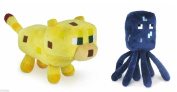 Set Of 2 Ocelot And Squid Minecraft Animal 18cm Plush Toy Doll