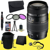 Tamron AF 70-300mm f/4.0-5.6 Di LD Macro Zoom Lens with Built In Motor for Canon Digital SLR Cameras + 62mm 3 Piece filter Kit + Lens Cap Keeper + Deluxe Starter Kit + Deluxe Lens Pouch + Lens Pen Cleaner + DavisMAX MicroFiber Cloth DavisMax Bundle