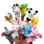 #c 10x Cartoon Biological Animal Finger Puppet Plush Toys Child Baby Favour Dolls