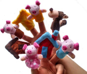 """New 8pcs/set Little """"the Three Little Pigs"""" Animal Finger Puppet Toy Educational Toys Storytelling Doll"""