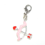 """Jewellery Monster Clip-on """"Pink and Red Bow and Arrow"""" Charm Bead 25441"""
