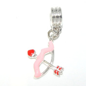 """Jewellery Monster Dangling """"Pink and Red Bow and Arrow"""" Charm Bead 25441"""