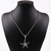 Tibet Silver Turquoise Blue Bead Sea Fish Sea Star Pendant Chain Necklace