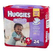 HUGGIES LITTLE MOVERS Nappies, Size 4 (10-17kg.), 24 Ct. (Packaging May Vary), Baby Nappies for Active Babies