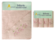 Abstract Baby Cotton Terry Hooded Towel and 4 Pk Washcloth Set