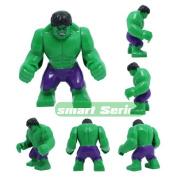 Building Blocks Minifigures Super Hero Big Size 7cm Height Incredible Hulk Purple Pants
