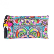 Changnoi Colourful Bird Embroidered Hmong Bag Hill Tribe Clutch Bag Thai Handbag Fair Trade