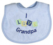 Raindrops I Love Grandpa Embroidered Bib, Blue