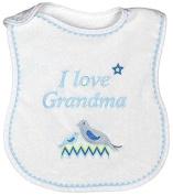 Raindrops I Love Grandma Embroidered Bib, Blue/White