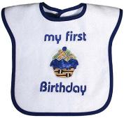 Raindrops My First Birthday Appliqued Bib, Royal Blue