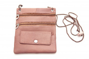 Womens Small Cross Body Bag Genuine Leather 3 Zipper Pockets Fanny Pack