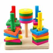 Column Set Building Blocks Geometry Shape Wooden Set Column