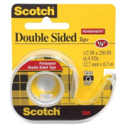 3M Double-Sided Tape with Dispenser, Permanent, 1.3cm X 640cm , Clear (MMM136)