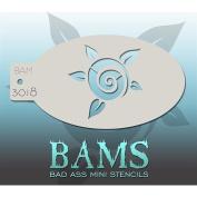 Bad Ass Rose & Leaves Mini Stencil BAM3018