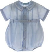 BABY BOYS BLUE DRESSY BUBBLE OUTFIT WITH PINTUCKS FELTMAN BROTHERS