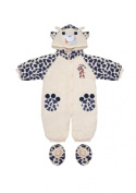 Ivory Baby Snowsuit with Navy Animal Print 0-3 Months